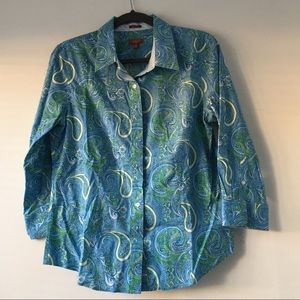 Talbots Buttons Up Blouse Blue size 12